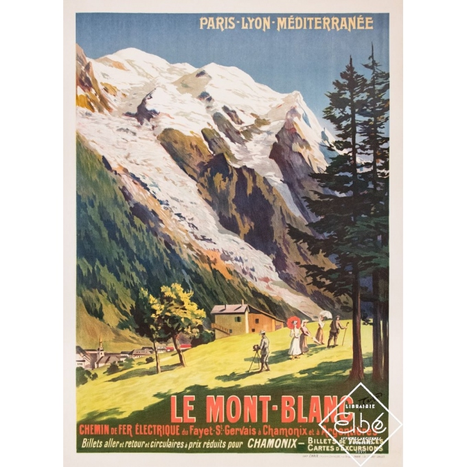Vintage travel poster - F. Cachoud - 1906 - Le Mont Blanc PLM - 42,3 by 30,7 inches