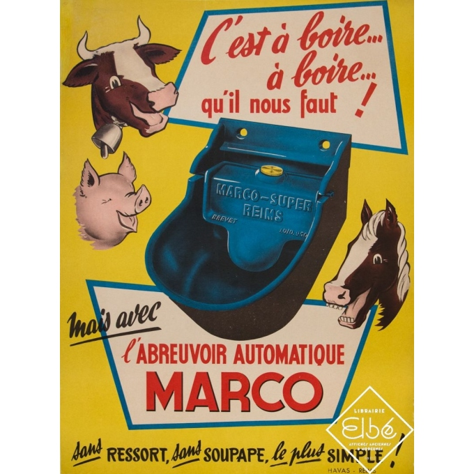 Vintage advertising poster - Circa 1950 - Abreuvoir automatique Marco - 15,9 by 21,5 inches