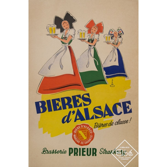 Vintage advertising poster - Lino - Circa 1950 - Bières d'Alsace - Brasserie Prieur Strasbourg - 23,2 by 15,6 inches