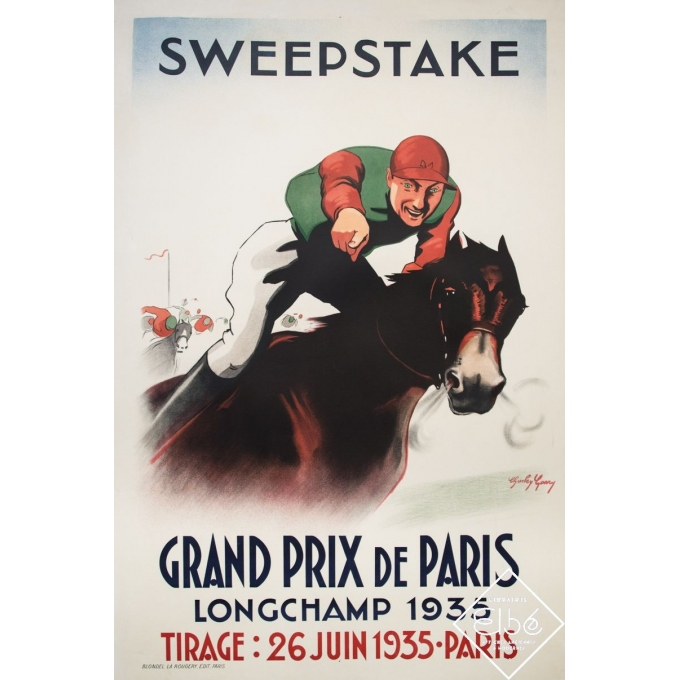 Vintage poster - Charley Garry - 1935 - Sweepstake - Grand Prix de Paris Longchamps - 47,2 by 31,5 inches