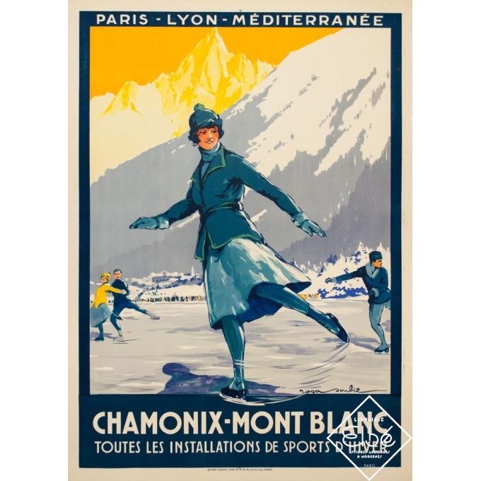 Affiche ancienne de voyage - Roger Soubi - 1924 - Chamonix Mont Blanc patineuse - 108 par 78 cm