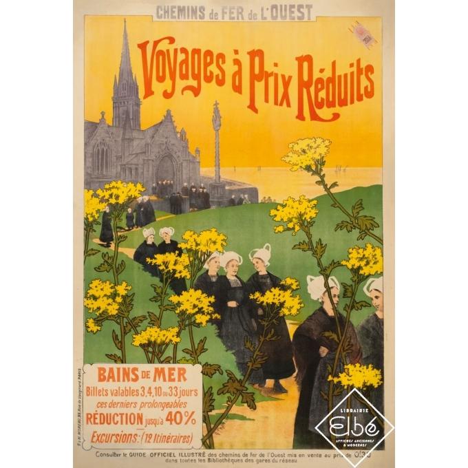 Voyages à Prix Réduits - affiche ancienne voyage G Fraipont - 1900 - 102 par 73 cm