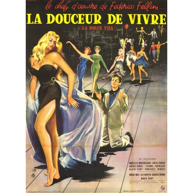 Affiche ancienne originale du film La Dolce Vita Fellini 1960