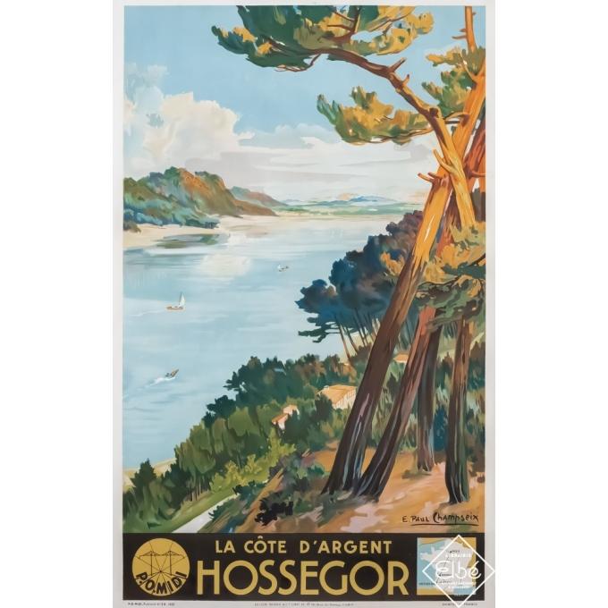 Vintage travel poster - Paul Champseix - 1937 - La Côte d'argent - Hossegor - 39,2 by 24,8 inches