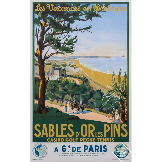 Vintage travel poster - Suzanne Hupot - Circa 1937 - Sables d'Or les Pins - 39,2 by 24,8 inches