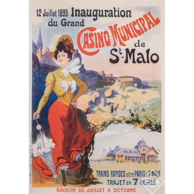 Vintage travel poster - René Péan - 1899 - Saint Malo - le Casino - 48,6 by 34,2 inches