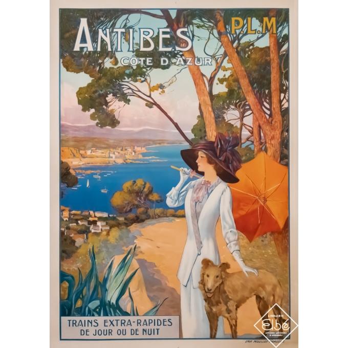 Affiche ancienne de voyage - David Dellpiane - Circa 1910 - Antibes côte d'Azur - PLM - 108 par 77,5 cm