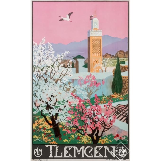 Vintage travel poster - Léon Carré - 1929 - Tlemcen PLM - Rose - 39,4 by 24,8 inches