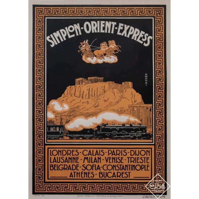 Vintage travel poster - J. de La Nézière - 1926 - Simplon Orient-Express - Athènes - 42,7 by 31,5 inches