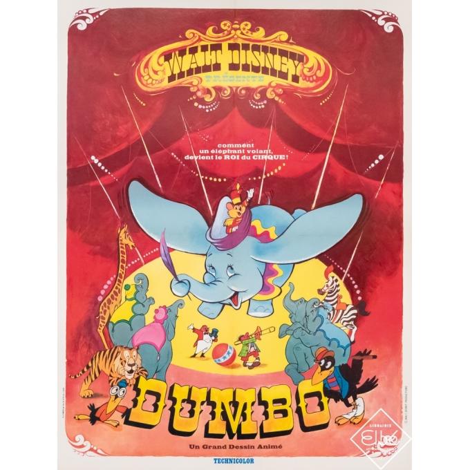 Original vintage movie poster - Walt Disney - Circa 1965 - Walt Disney - Dumbo - 31,5 by 23,6 inches