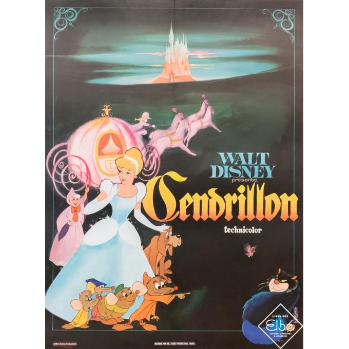 Original vintage movie poster - Walt Disney - Circa 1965 - Cendrillon - 31,5 by 23,6 inches