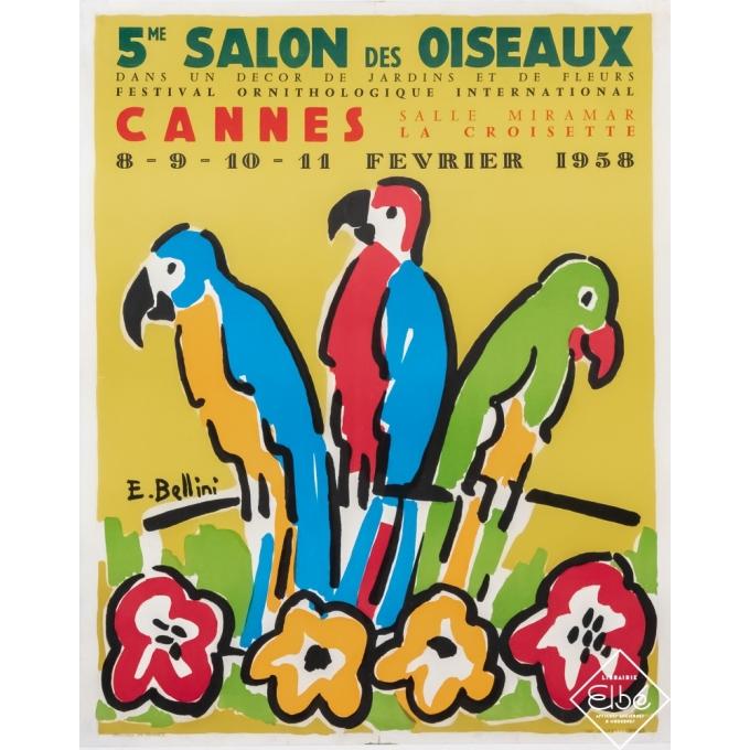 Vintage exhibition poster - E.Bellini - 1958 - 5ème salon des oiseaux - Cannes - 22,4 by 18,1 inches