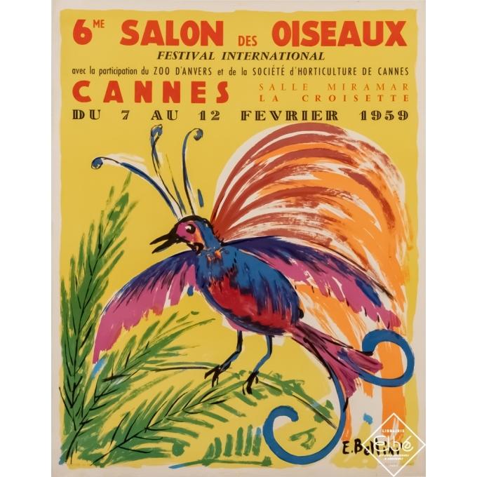 Vintage exhibition poster - E. Bellini - 1959 - 6ème Salon des oiseaux - Cannes - 22,6 by 17,9 inches
