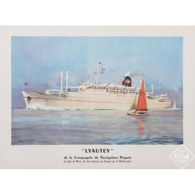 Vintage travel poster - Roger Chapelet - Circa 1950 - Compagnie de navigation Paquet - Lyautey - 29,9 by 22,2 inches