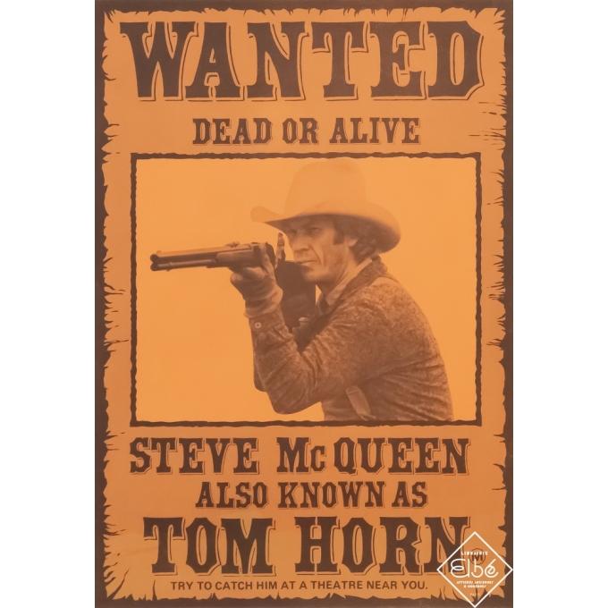 Affiche ancienne de cinéma - Circa 1970 - Tom Horn - Steve Mc Queen - 40 par 28 cm