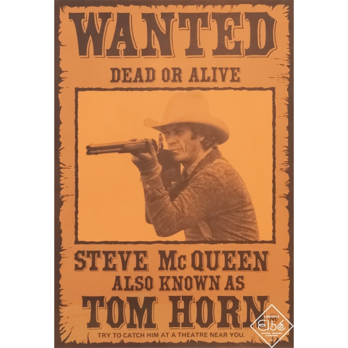 Original vintage movie poster - Anonyme - Circa 1970 - Tom Horn - Steve Mc Queen - 15,8 by 11 inches