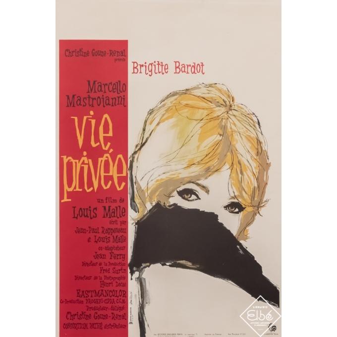 Original vintage movie poster - A.Tealdi - Circa 1962 - Vie privée - 23,6 by 15,8 inches