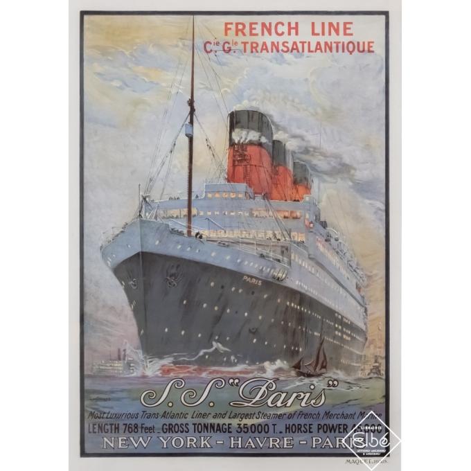 Affiche ancienne de voyage - Albert Sébille - Circa 1925 - French Line S.S Paris New-York Havre Paris  - 107,5 par 76 cm