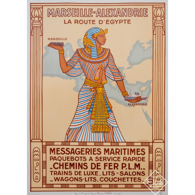 Vintage poster - J.Daviel - 1927 - Marseille Alexandrie Messageries Maritimes - 42,9 by 31,1 inches