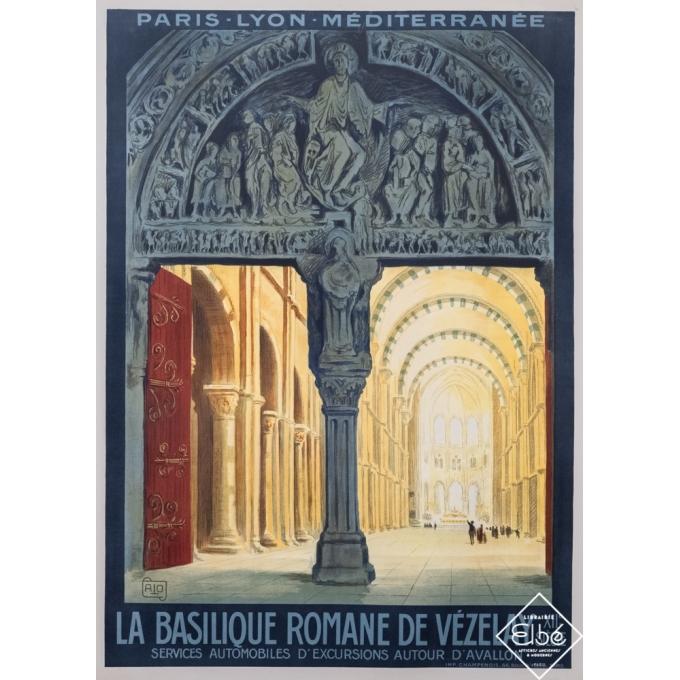 Affiche ancienne de voyage - Charles Hallo - Circa 1923 - La Basilique Romane de Vezelay - 107,5 par 78 cm