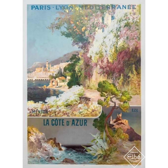 Vintage travel poster - Louis Lessieux - Circa 1900 - La côte d'azur- Menton-Eze-Cap Martin - 42,9 by 31,1 inches