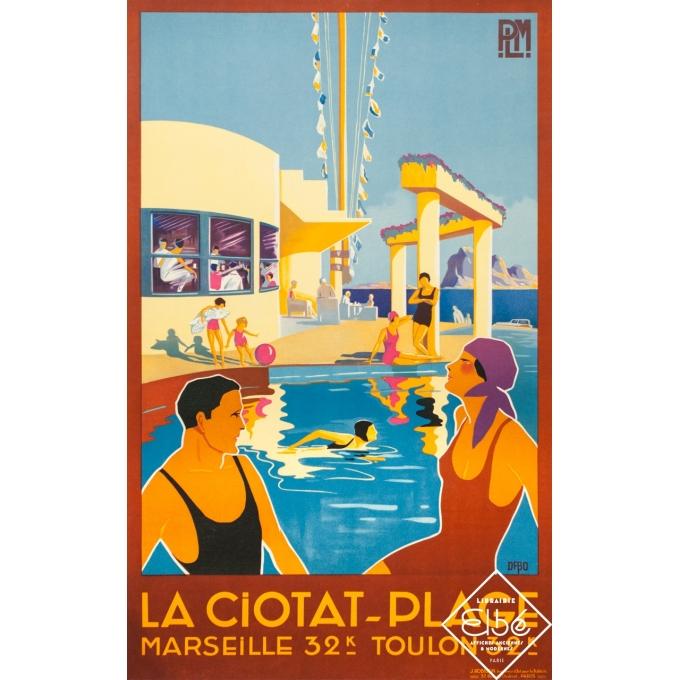 Vintage travel poster - Dabo - Circa 1930 - La Ciotat Plage Marseille Toulon PLM - 39,4 by 23,6 inches