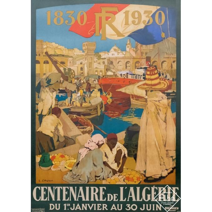 Vintage poster - L. Cauvy - 1929 - Centenaire de l'Algérie- Alger - 41,3 by 29,3 inches