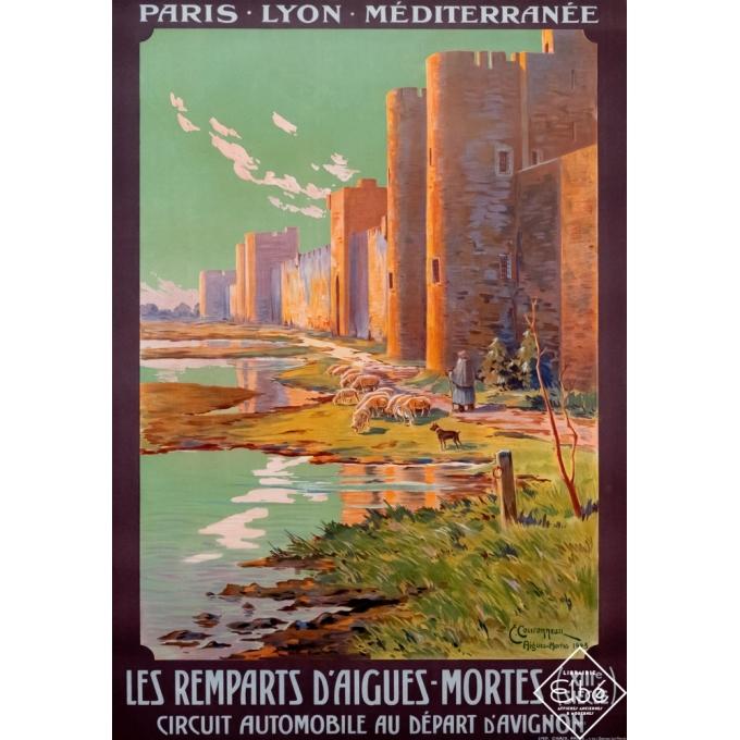 Affiche ancienne de voyage - E. Couronneau - 1923 - Les remparts d'Aigues-Mortes - PLM - 107 par 79 cm