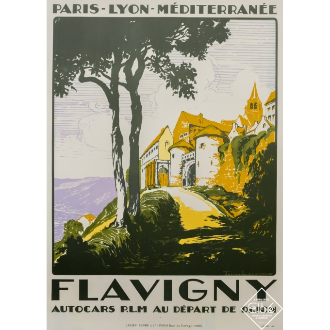 Vintage travel poster - Julien Lacaze - 1927 - Flavigny - PLM - 42,1 by 31,1 inches
