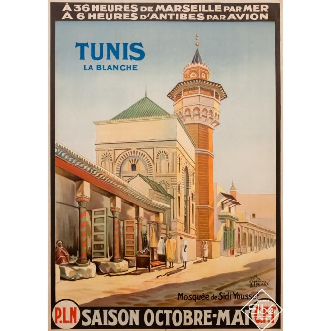 Vintage travel poster -  - 1920 - Tunis la blanche - Mosquée de Sidi Youssef - PLM - 42,5 by 30,7 inches