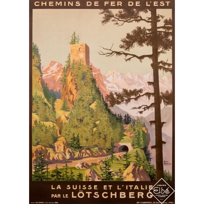 Vintage travel poster - Geo Dorival - Circa 1910 - La Suisse et l'Italie par le Lötschberg - 40,6 by 29,5 inches