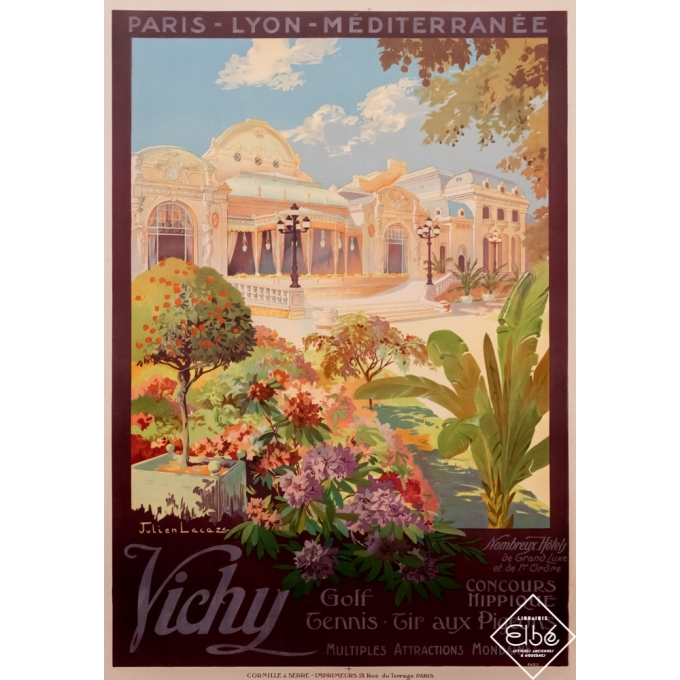 Vintage travel poster - Julien Lacaze - Circa 1920 - Vichy - PLM - 42,7 by 30,7 inches
