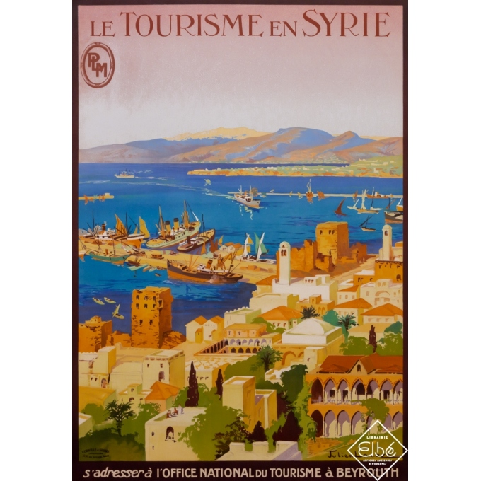Vintage travel poster - Lacaze - 1925 - Le Tourisme en Syrie (Syria) - Beyrouth (Beirut) - PLM - 40,8 by 29,5 inches