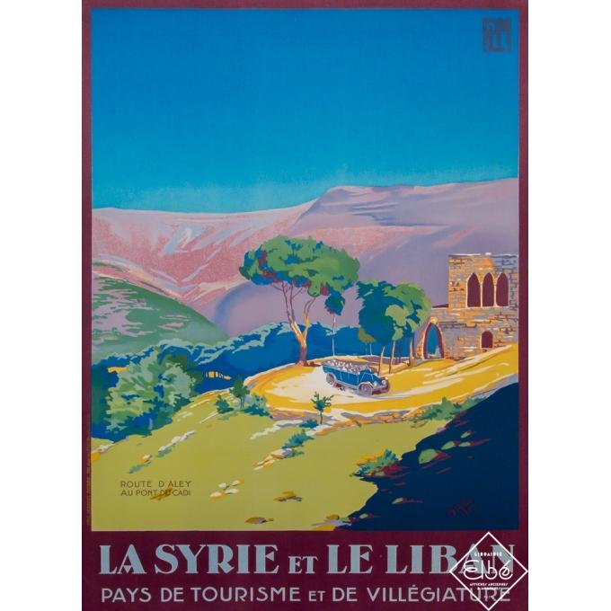 Vintage travel poster - Dabo - 1927 - La Syrie et Le Liban - Route d'Aley au pont du Cadi - 41,3 by 29,5 inches