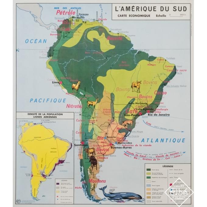 Vintage poster - J.Anscombre - Carte illustrée - L'Amérique du sud - carte économique - 35,6 by 31,3 inches