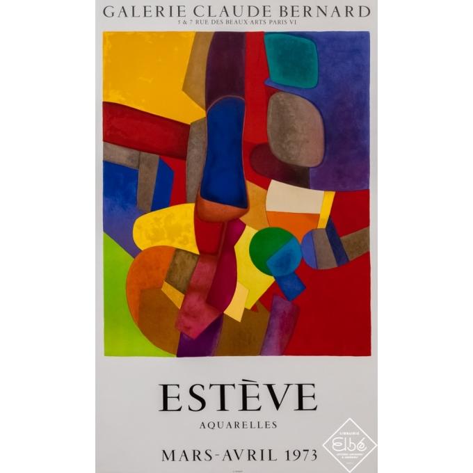 Affiche ancienne d'exposition - Maurice Estève - 1973 - Estève - Galerie Claude Bernard - 90,5 par 53,5 cm