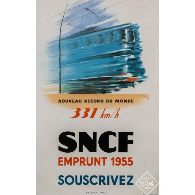 Affiche ancienne de voyage - Rousset - 1955 - SNCF - nouveau record du monde - 95 par 60,5 cm