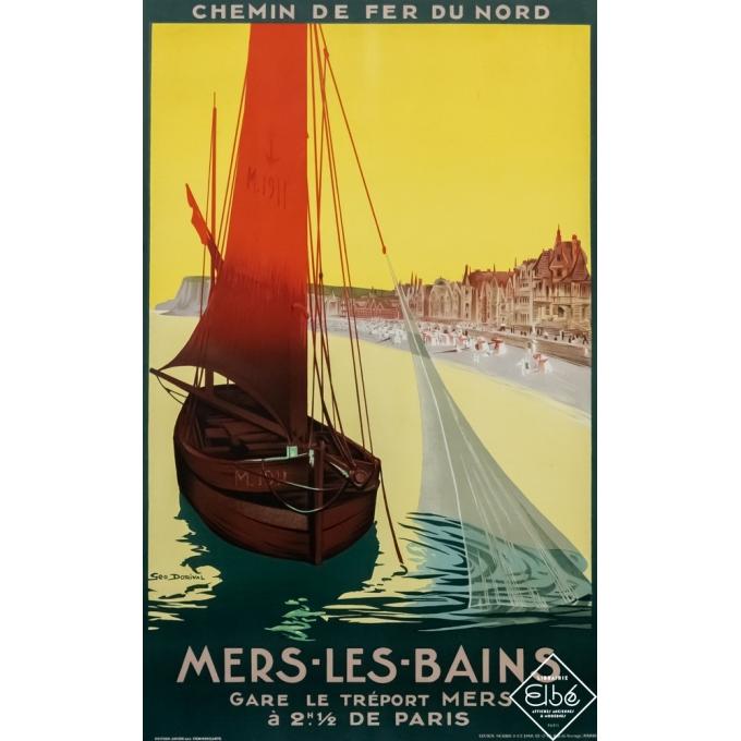 Affiche ancienne de voyage - Geo Dorival - 1911- Mers les bains - 105 par 76 cm