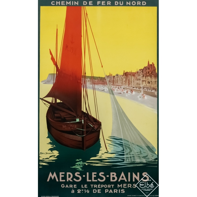 Vintage travel poster - Geo Dorival  - 1911 - Mers les bains - 41.3 by 29.9 inches