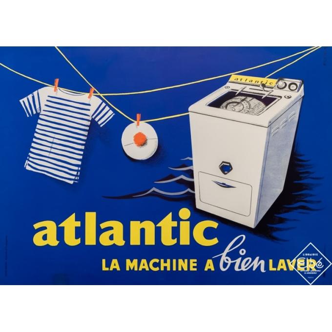 Affiche ancienne de publicité - RG Soeur - Circa 1950 - Atlantic - la machine à bien laver - 58 par 80,5 cm