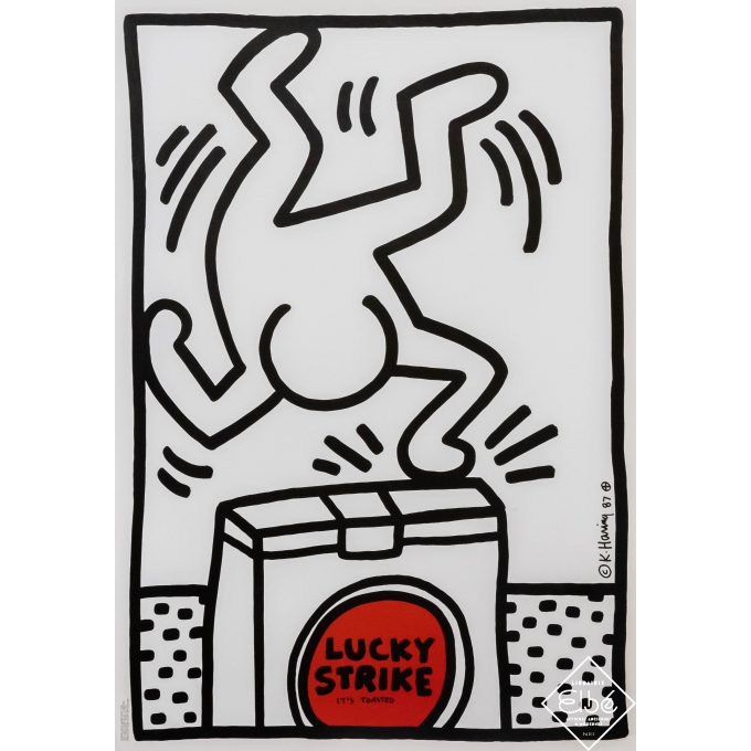 Affiche sérigraphiée originale - Keith Haring - 1987 - Lucky Strike - It's Toasted (blanche) - 101 par 70 cm