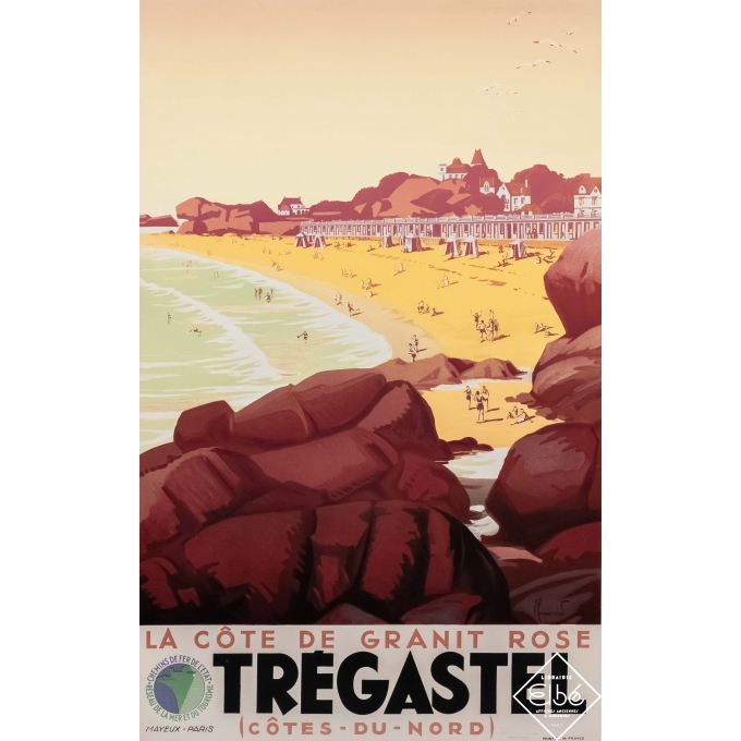 Vintage travel poster - Pierre Commarmond - Circa 1930 - Trégastel - La côte de granit rose - 39,2 by 24,6 inches
