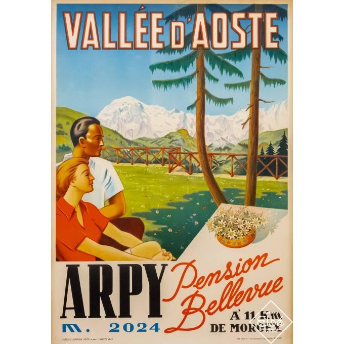 Affiche ancienne de voyage - anonyme - 1947 - Vallée d'Aoste - Arpy - Morgex - 100 par 70 cm