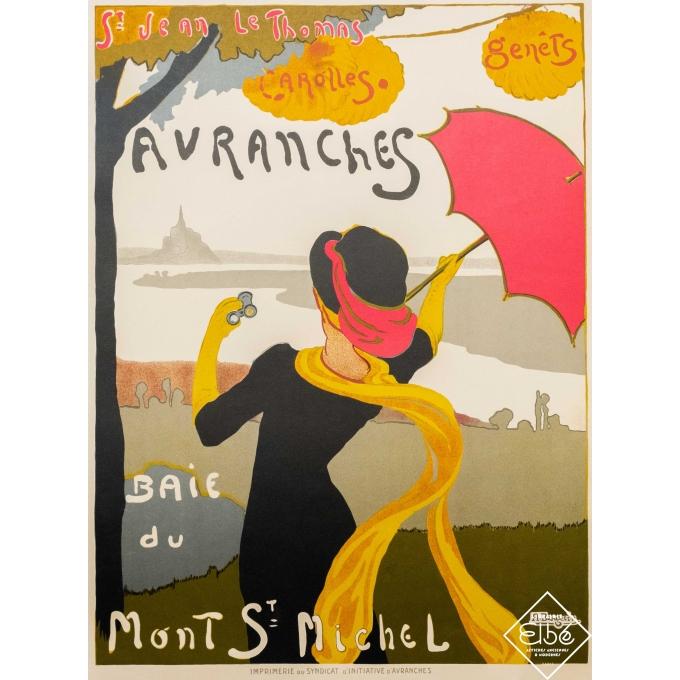Affiche ancienne de voyage - A. Bergevin - 1925 - Avranches - Mont Saint Michel - 112,5 par 72,5 cm