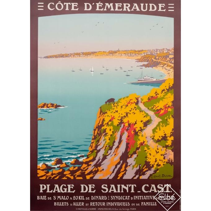 Affiche ancienne de voyage - Constant Duval - 1920 - Plage de Saint-Cast - Côte d'émeraude - 105,5 par 76 cm