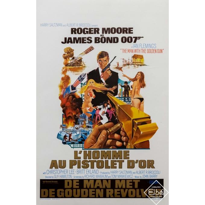 Affiche ancienne de cinéma - United Artists - 1974 - James Bond 007 - l'Homme au pistolet d'or - 55 par 35,5 cm