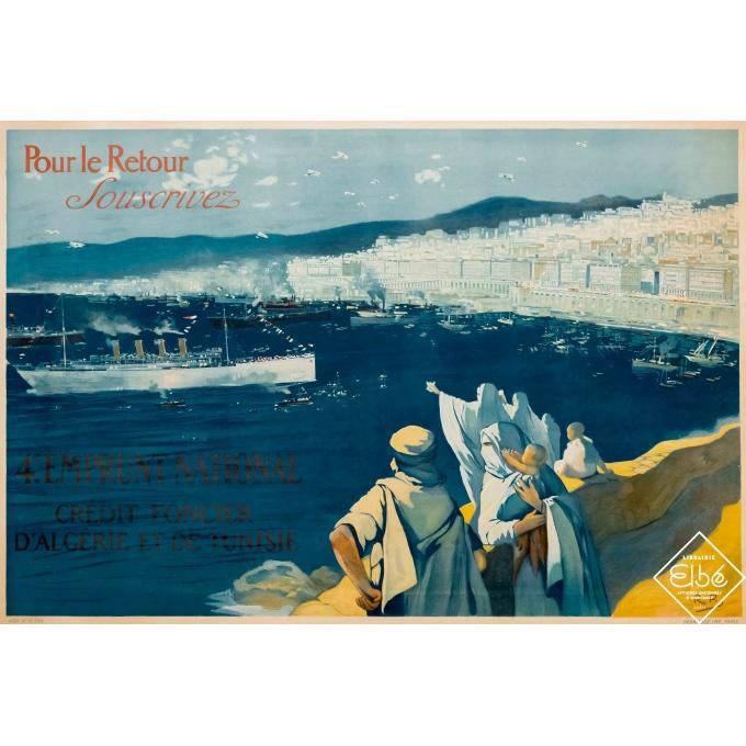Vintage advertising poster - R.P - 1920 - Pour le retour souscrivez - 44,9 by 31,9 inches