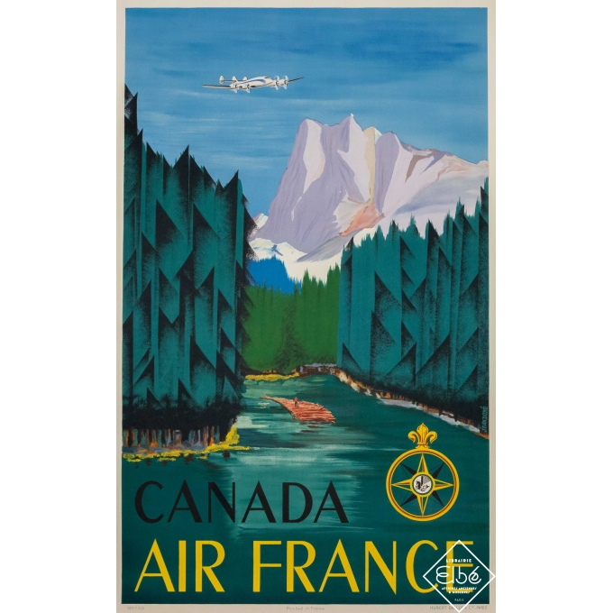 Vintage travel poster - Jean Doré - 1951 - Air France Canada - 39,4 by 23,6 inches
