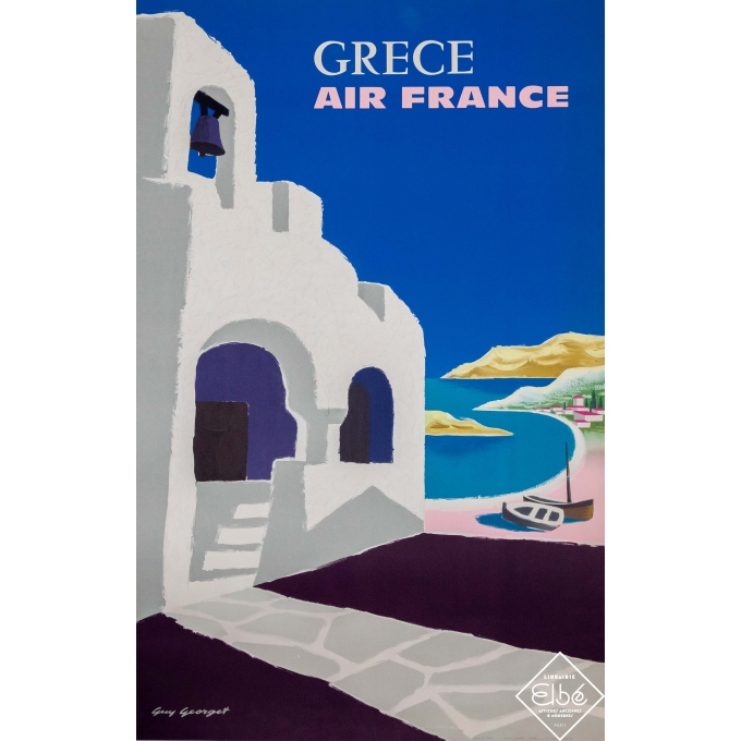 Affiche ancienne de voyage - Guy Georget - 1959 - Air France Grèce - 100 par 60 cm