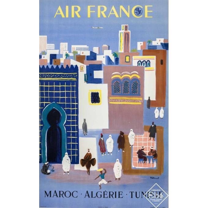 Vintage travel poster - Villemot - 1952 - Air France Tunisie Maroc - 39,4 by 23,6 inches
